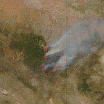 NASA's MODIS sensor spots smoke rising from Arizona wildfires on June 9.<br>NASA image courtesy of Jeff Schmaltz, MODIS Rapid Response Team at NASA GSFC. Caption by Holli Riebeek.