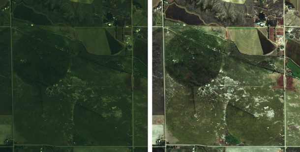 Five-meter imagery (left) can be ideal for mapping larger areas, but it won't show the same level of detail as high-resolution imagery.