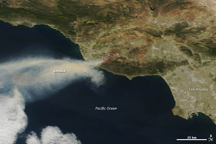 Southern California Wildfire Visible from Space « Earth ... on large map of california, lightning strike map california, kern county california,