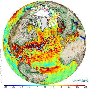 """Average sea-surface topography for 2013, as mapped by CryoSat, was combined with data from the ERS-2, Envisat, GFO, Topex/Poseidon and Jason missions. Red represents higher sea levels (up to 20 mm) while blue represents lower areas (down to –20 mm). CryoSat's ground-tracks are seen as long """"strips."""""""