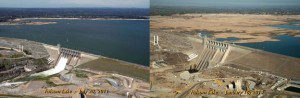 Images of Folsom Lake, a reservoir in Northern California, show the severity of the state's drought. The photo at left, taken on July 20, 2011, shows the lake at 97 percent of total capacity. The photo at right shows the lake on Jan. 16, 2014, when it was at 17 percent of capacity.