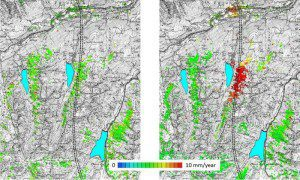 These satellite images show subsidence along the Val Nalps in Switzerland. Results on the left are obtained from ERS-1 and ERS-2 data from 1992 to 2000; the results on the right are from Envisat data from 2004–2010.