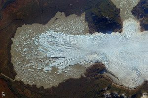 This image of the San Quintín Glacier was captured by the ISERV Pathfinder instrument, an experimental camera system in the Destiny module on the International Space Station. The instrument captures photographs of natural hazards, environmentally threatened regions and areas of historical or cultural importance. On June 2, 2014, ISERV snapped eight images of San Quintín that were made into a mosaic; the image above was cropped from that scene.