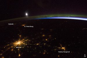 Besides Moscow, other cities in this night-time astronaut photo are Nizhny Novgorod (400 kilometers from Moscow), St. Petersburg (625 kilometers away) and Finland's capital city, Helsinki.