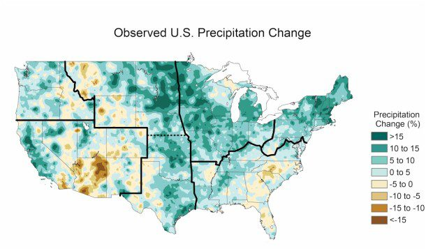 A map shows how much precipitation changed between 1991 and 2012 compared with the average precipitation observed between 1901 and 1960.