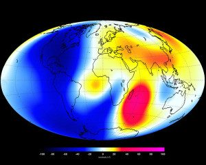 This image shows changes in Earth's magnetic field from January 2014 to June 2014 as measured by the Swarm constellation of satellites. These changes are based on the magnetic signals that stem from Earth's core. Shades of red represent areas of strengthening, while blues show areas of weakening during the six-month period.