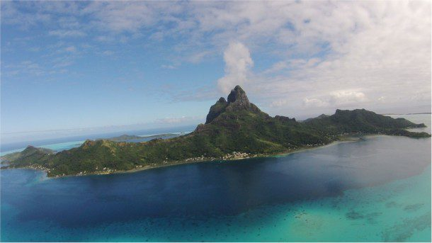 A view from the author's personal drone reveals Mount Otemanu on Bora Bora.