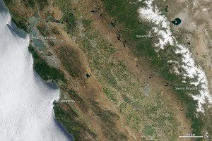 Green farmlands are visible in California's Central Valley in this 2011 satellite image before the current drought.