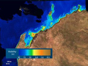 This water visibility map from eoApp Australia was derived using data from the MODIS instrument on NASA's Terra and Aqua satellites.