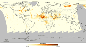 In mid-July 2014, the skies were ripe with aerosols, according to Colin Seftor of NASA's Ozone Mapping and Profiler Suite (OMPS) science team. This image shows the aerosol index for July 19, as measured by OMPS on the Suomi NPP satellite. The denser the atmosphere's aerosol level, the darker the shade of orange.