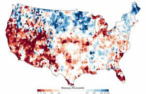 This map combines data from NASA's GRACE satellites with other satellite and ground-based measurements to model the relative amount of water stored in underground aquifers in the continental United States. The map depicts the amount of groundwater on July 7, 2014, compared with the average from 1948 to 2009. Areas shown in blue have more abundant groundwater for this time of year than comparable weeks over the years, whereas shades of red depict deficits.
