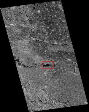 This radar image is a Sentinel-1A satellite scan from May 24, 2014, over parts of Serbia, Bosnia-Herzegovina and Croatia. The area used for the flood delineation mapping under the Copernicus EMS is indicated in the red box.