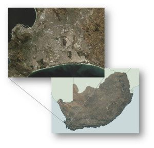 Figure 1. An image of South Africa illustrates how satellite remote sensing leverages the latest trends in high-performance computing to create maps at a national scale.