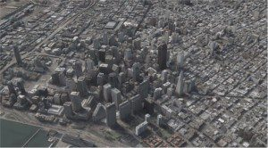 Figure 3. Satellite elevation models allow users to create 3-D city models, such as this image of San Francisco.