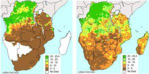 The image on the left portrays soil moisture in southern Africa during mid-April 2014 and is based on rain gauge data only. The more detailed image on the right includes soil moisture data from ESA's SMOS mission that are assimilated into USDA's FAS forecasting system.