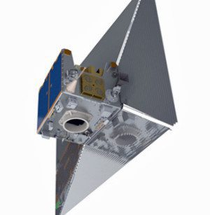 An artistic rendition of TechDemoSat-1 shows the satellite with its sail extended.