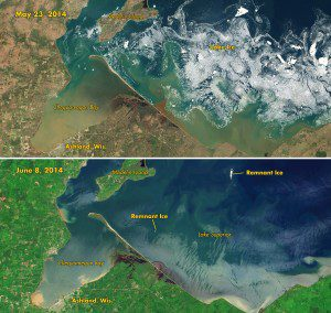 The Operational Land Imager on the Landsat 8 satellite captured the top image on May 23, 2014, the start of Memorial Day weekend (and unofficial start of summer in the United States). The second image was acquired on June 8, 2014. Both show an icy Lake Superior near Chequamegon Bay, Wis., about 60 miles (100 kilometers) east of Duluth, Minn. The bay lies near the western end of Lake Superior, which is bounded by the U.S. states of Wisconsin, Michigan and Minnesota and by Canada's Ontario Province.