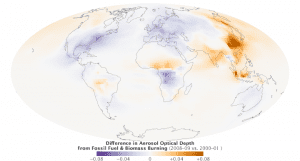 This map illustrates some of the key trends seen in the global distribution of anthropogenic (human-caused) aerosols between 2000–2001 and 2008–2009. Areas where aerosol levels increased are shown in orange; areas where they decreased are blue.