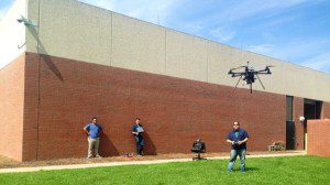 Steve Cohen and his students fly a drone at Bergen Community College in New Jersey. FAA prohibits drones from flying above 400 feet or from being used for commercial gain.
