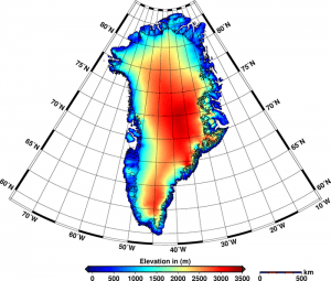 This new elevation model of Greenland incorporates 7.5 million measurements from CryoSat collected throughout 2012. The edge of the ice sheet is outlined in black. The data reveal that the Greenland ice sheet is reducing in volume by about 375 cubic kilometers a year and Antarctica is losing 125 cubic kilometers a year. This combined loss is the highest rate observed since satellite altimetry records began about 20 years ago.