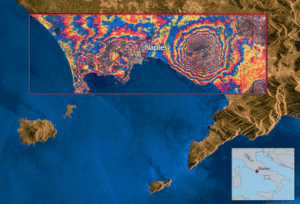 This ERS-1 satellite image of the Bay of Naples, Italy, is a combination of a radar image and an interferogram of Vesuvius and its vicinity. Using radar-based interferometry, it is possible to produce detailed 3-D relief maps of Earth's surface with an accuracy of a few millimeters.
