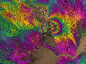 The two round shapes around Napa Valley, which are visible in the central part of this interferogram computed with Sentinel-1A images, show how the ground moved during the quake. Deformation on the ground causes phase changes in radar signals that appear as the rainbow-colored patterns. Each color cycle corresponds to a deformation of 28 mm deformation. The maximum deformation is more than 10 cm, and an area of about 30 x 30 km was affected significantly.