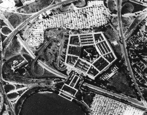 This image of the Pentagon was collected on film by a U.S. Corona spy satellite in 1967.