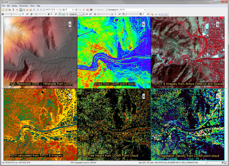 Using a geospatial analysis product like ENVI, users can fuse data from multispectral imagery and LiDAR point clouds to get a better picture of a scene.