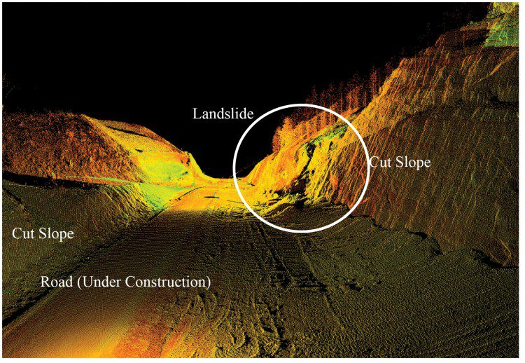 A point cloud reveals a rockfall on a newly cut section of highway. Photo credit: Oregon Department of Transportation