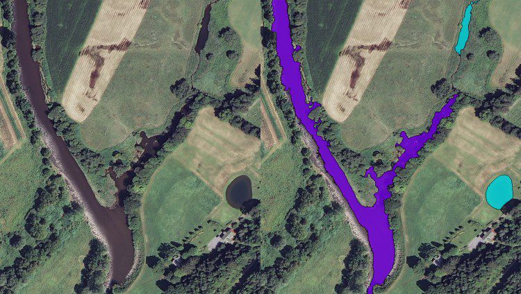 Figure 3. A GEOBIA approach was used to separate water features. Rivers (purple) are separated from ponds (cyan) using a combination of spectral and spatial information.