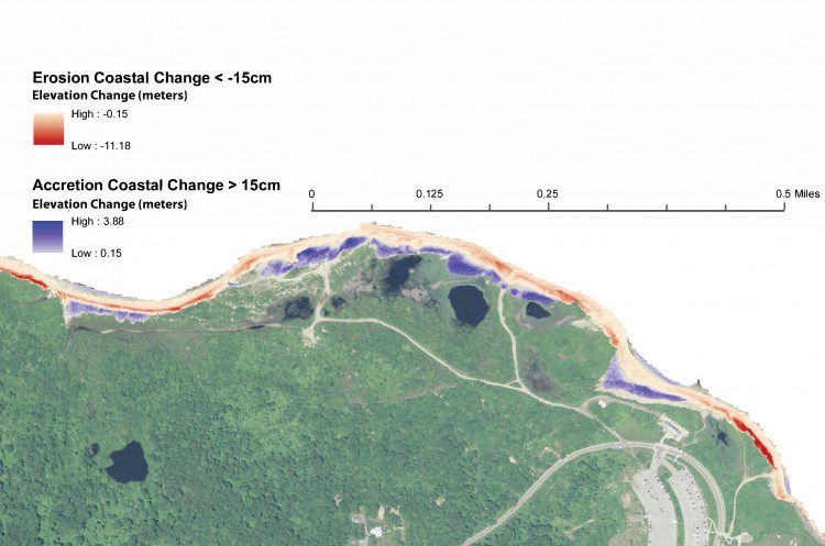 Figure 5. A GEOBIA approach was used to automatically identify coastal change.