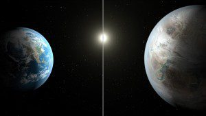This artist's concept compares Earth (left) to the new planet, called Kepler-452b, which is about 60 percent larger in diameter. (Credit: NASA/JPL-Caltech/T. Pyle)