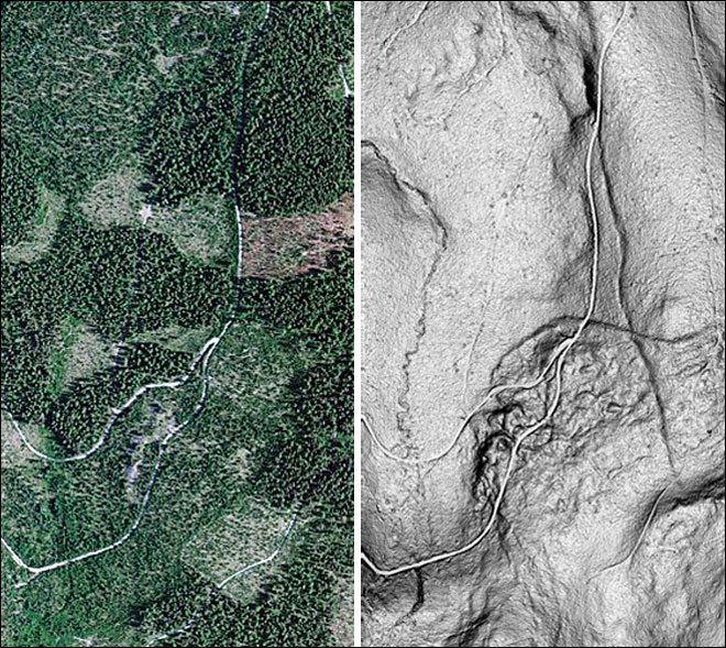 In Oregon's Mount Hood region, an aerial image (left) hid a seismic fault that was discovered using LiDAR data (right). Credit: AP Photo/Oregon Department of Geology and Mineral Industries