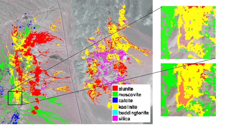 An alteration mineral map (left) was created using DigitalGlobe's WorldView-3 SWIR data and ENVI software. Areas show kaolinite (top right) and dickite (bottom right), which have the same chemical composition but different crystal structures.Credit:Joe Zamudio, Applied Spectral Imaging