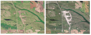 Satellite images of Saskatchewan, Canada, show progress on the construction of the Northgate Hub between Sept. 10, 2013 (Landsat 8, NASA/USGS) and Aug. 28, 2014 (Planet Labs).