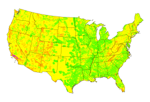 A map shows the suitability for solar power generation in the contiguous United States.