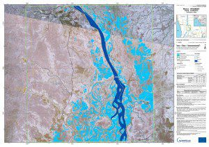 The European Space Agency's Sentinal-1A satellite captured data used to create this flood map of the area around Monyo, Myanmar. (Credit: Contains modified Copernicus Sentinel data (2015)/e-GEOS/JRC/EU-EC/ESA)