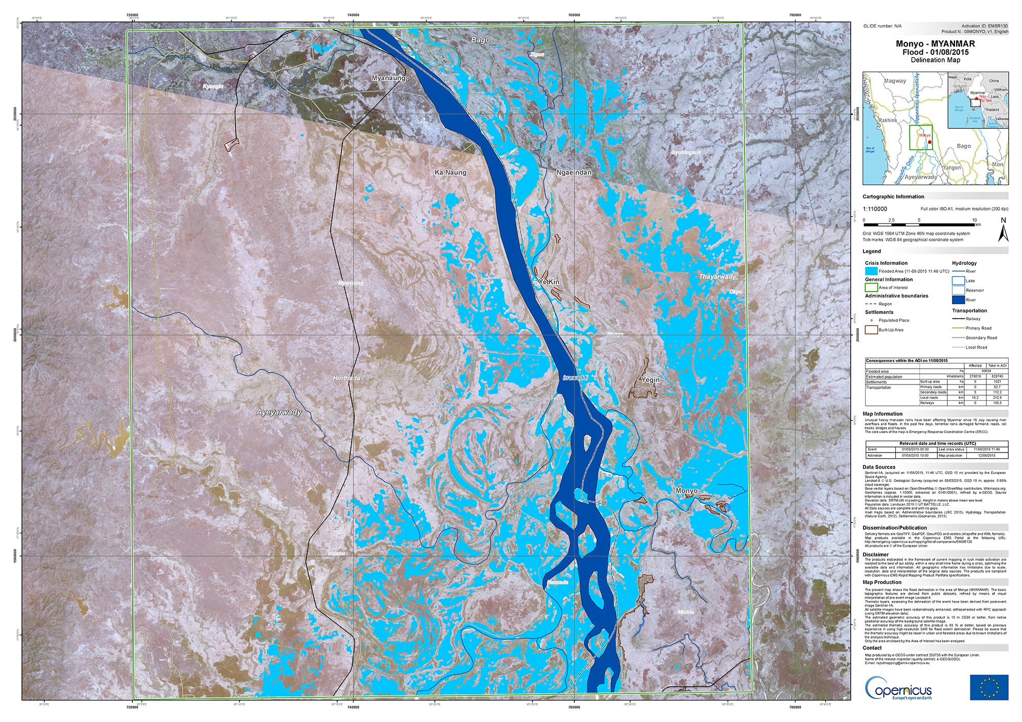 Catastrophic flooding in myanmar earth imaging journal remote the european space agencys sentinal 1a satellite captured data used to create this flood map publicscrutiny Gallery