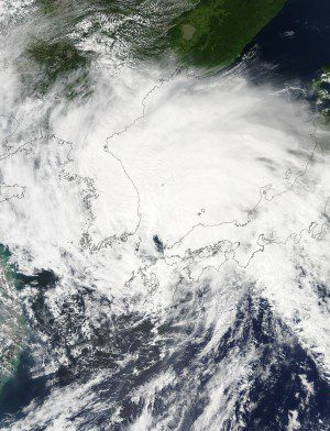 On Aug. 25, 2015, NASA's Aqua satellite recorded Typhoon Goni filling up the southern half of the Sea of Japan. (Credit: NASA Goddard MODIS Rapid Response Team)