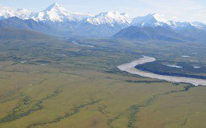 The ABoVE campaign will combine fieldwork, airborne surveys, satellite data and computer modeling to study the effects of climate change on Arctic and boreal ecosystems, such as this region at the base of the Alaska Range south of Fairbanks. (Credit: NASA/Ross Nelson)