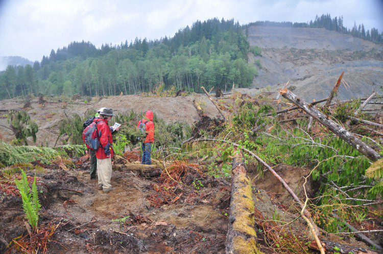 A photo shows the Oso landslide as seen from the south.