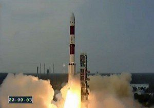 The ISRO PSLV-C30 rocket, carrying exactView-9, launches from Satish Dhawan Space Centre in Sriharikota, India.