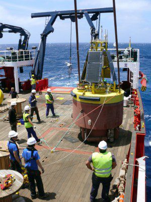 The Oceanic Platform of the Canary Islands (PLOCAN), which coordinates NeXOS, deploys the ESTOC open-ocean observatory. NeXOS sensors will be demonstrated on this reference mooring in 3,670-meter water depths. (Credit: PLOCAN)