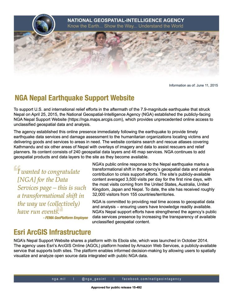For more information on NGA's support to the Nepal Earthquake, see the fact sheet.