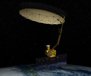 An image shows NASA's Soil Moisture Active Passive observatory mission, launched in January 2015 to map global soil moisture and detect whether soils are frozen or thawed. (Credit: NASA, ASSOCIATED PRESS)