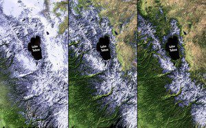 California is experiencing a severe drought. These images show reduced snowfall in the Sierra Nevada Mountains through 2011, 2013 and 2014. (Credit: NASA)