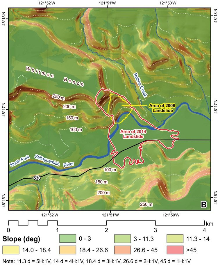 A map describes slope inclination in the area around the Oso landslide (outlined in red).