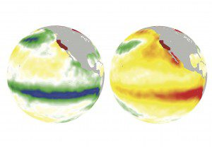 On the left, La Niña cools off the ocean surface (greens and blues) in winter 1988. On the right, El Niño warms the ocean surface (oranges and reds) in winter 1997. (Courtesy of Pacific Northwest National Laboratory)