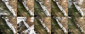 Ten Terra MODIS true-color surface-reflectance images of the Sierra Nevada mountains captured during spring between 2006-2015 allow researchers to observe and measure changes in snow levels. (Credit: NASA/USGS)