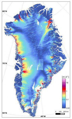 Approximately 1,200 radar scenes from Sentinel-1A's wide-swath mode were used to produce this map of Greenland ice-sheet velocity, which shows dynamic glacier outlets around the Greenland coast. (Credit: Contains modified Copernicus Sentinel data (2015)/ENVEO/ESA CCI/FFG)